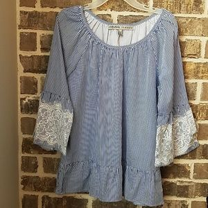 Absolutely Famous Blue and White Striped Tunic
